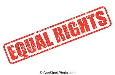 estampilla, texto, igual, rojo, derechos