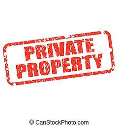 estampilla, texto, propiedad, privado, rojo