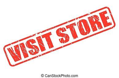 estampilla, texto, visita, tienda, rojo