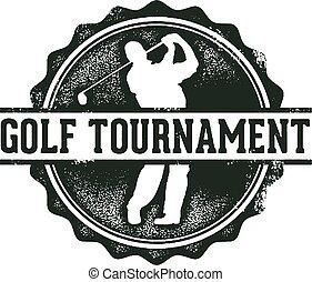 estampilla, torneo, golf