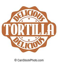 estampilla, tortilla, o, delicioso, etiqueta