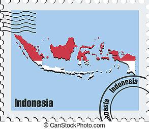 estampilla, vector, indonesia