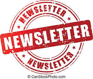 estampilla, vector, newsletter