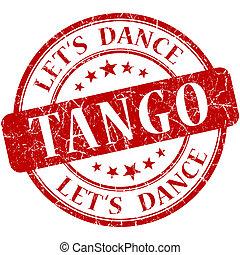 estampilla, vendimia, aislado, tango, grungy, redondo, rojo