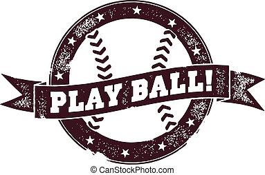 estampilla, vendimia, bola del juego, beisball