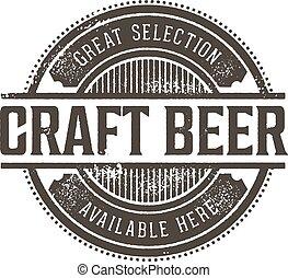 estampilla, vendimia, cerveza, arte