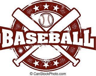 estampilla, vendimia, deporte, beisball