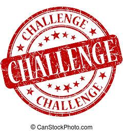 estampilla, vendimia, desafío, caucho, grungy, redondo, rojo