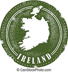 estampilla, vendimia, estilo, irlanda, país