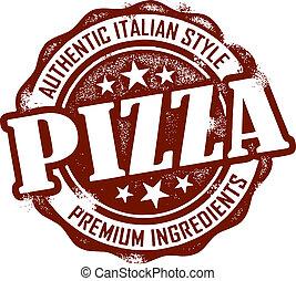 estampilla, vendimia, estilo, pizza, menú