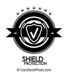estampilla, vendimia, etiqueta, etiqueta, protección, negro, retro, insignia,  