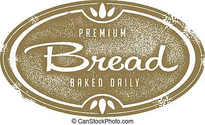 estampilla, vendimia, panadería, pan fresco
