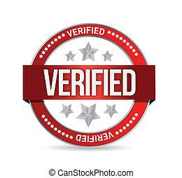 estampilla, verificado, ilustración, sello