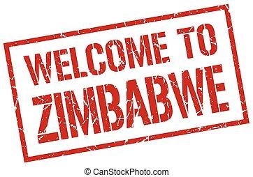 estampilla, zimbabwe, bienvenida