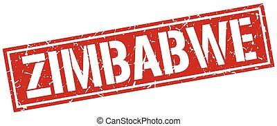 estampilla, zimbabwe, cuadrado, rojo