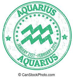 estampilla, zodíaco, acuario, grunge