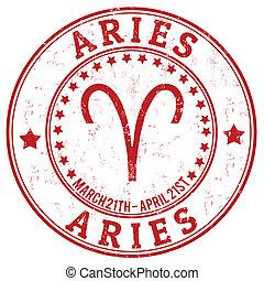 estampilla, zodíaco, grunge, aries