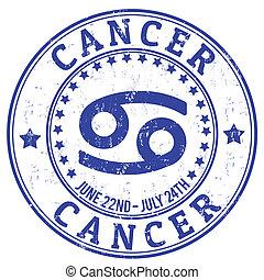 estampilla, zodíaco, grunge, cáncer