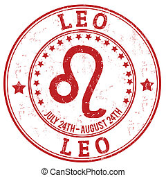 estampilla, zodíaco, grunge, leo