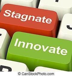 estancamiento, llaves, estancarse, progreso, innovar, opción, computadora, crecimiento, o, exposiciones