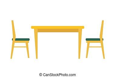 estancia, hogar, vector, cenar, ilustración, mesa., concept.