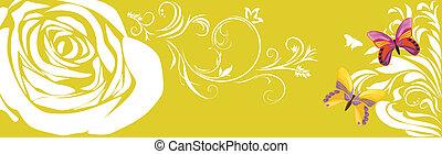 estandarte floral, con, mariposas