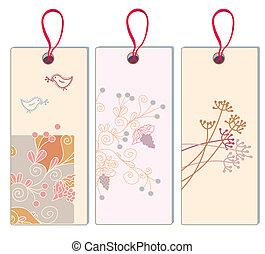 estandarte floral, con, uva, y, pájaro, conjunto, -, vertical, formato