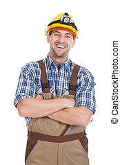 estando pé cima, trabalhador, braços cruzaram, fundo, sorrindo, macho, branca