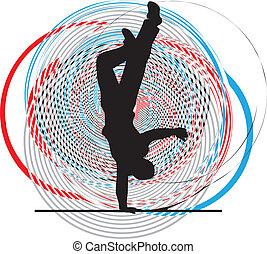 estante, breakdancer, mano, bailando