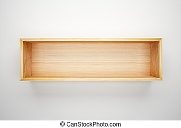 estante, caja, blanco, pared