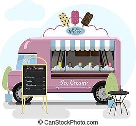 estante, coche, calle, ilustración, parques, cream., ...