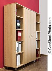 estante de livros, com, pastas