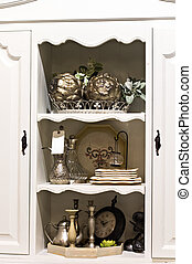 estante, en, el, armario, aparador, con, antigüedad, cosas