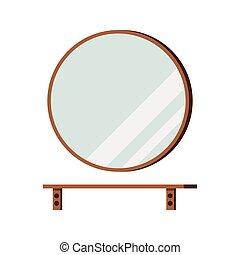 estante, espejo, blanco, fondo., aislado, redondo