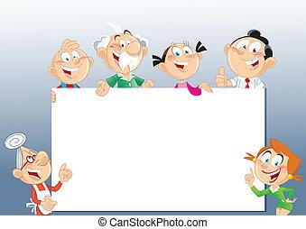 estante, familia , publicidad