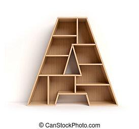 estante, fuente, 3d, carta, interpretación