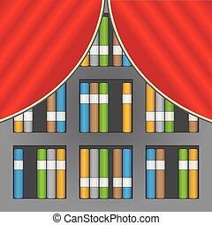 estante, fundo, ilustração