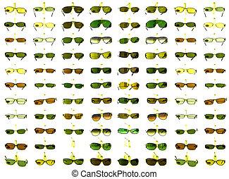 estante, gafas de sol