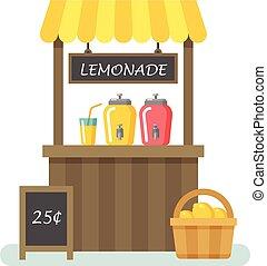 estante, ilustración, limonada, plano