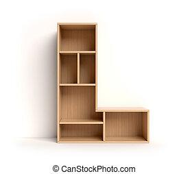 estante, l, interpretación, carta, fuente, 3d