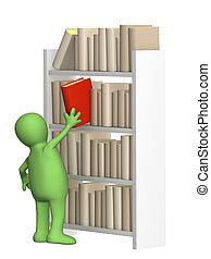 estante, libro, títere, obteniendo