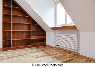 estante libros, ático, vacío