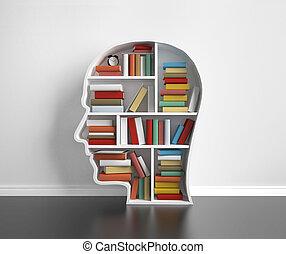 estante libros, cabeza