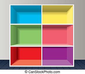 estante libros, colorido, vacío