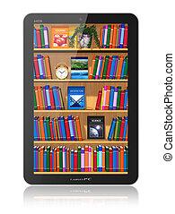 estante libros, computadora, tableta