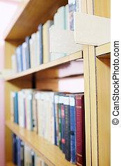 estante libros, en, público, library.