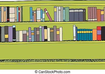 estante libros, filas, dos, lleno
