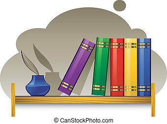 estante libros, libros, tintero