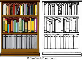 estante libros, lleno