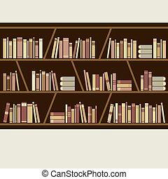 estante libros, plano, diseño, vector., marrón